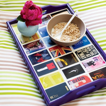 Select uniform size items... gift cards, hotel room keys, small package tags... and personalize a simple tray.