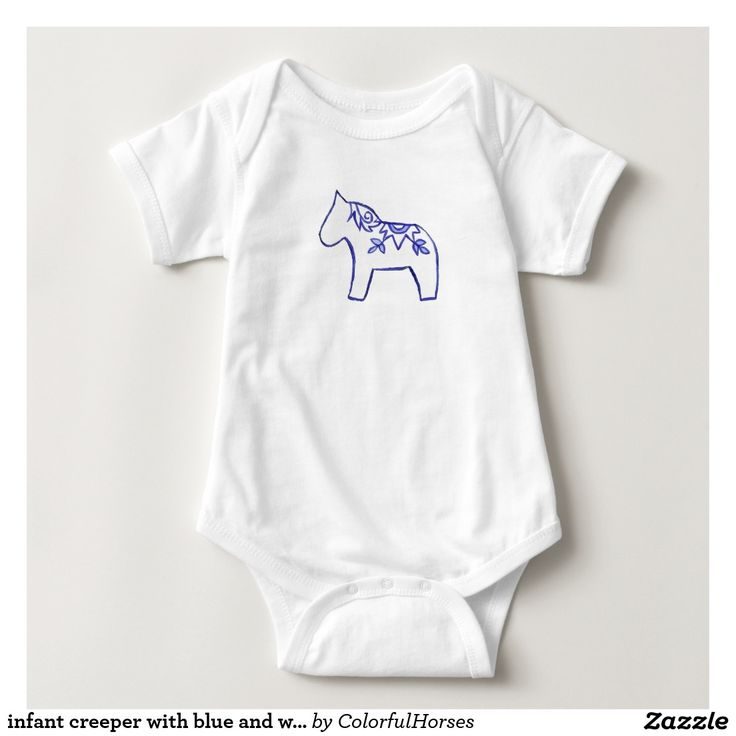 infant creeper with blue and white horse