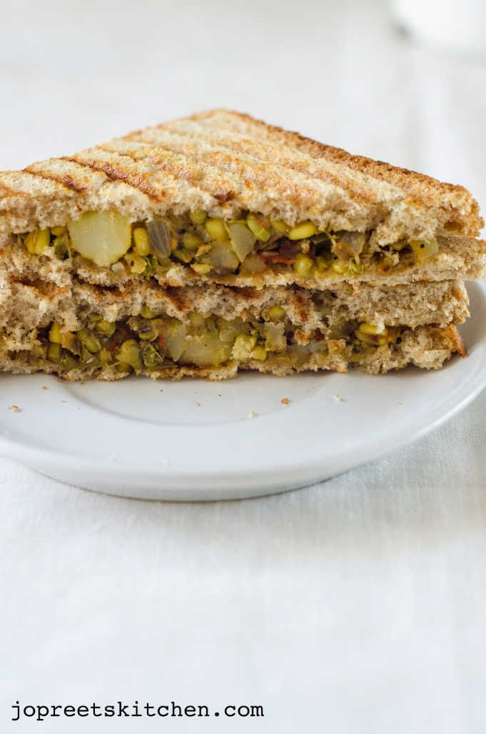 Potato & Moong Sprouts Sandwich - Simple Sandwich Recipes