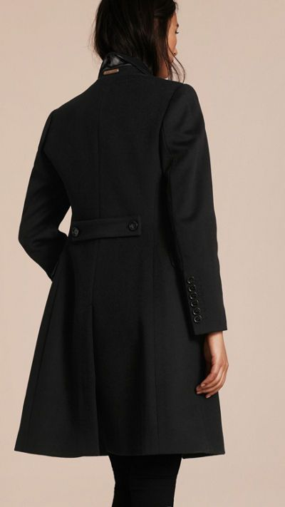 Black Tailored Wool Cashmere Coat 3