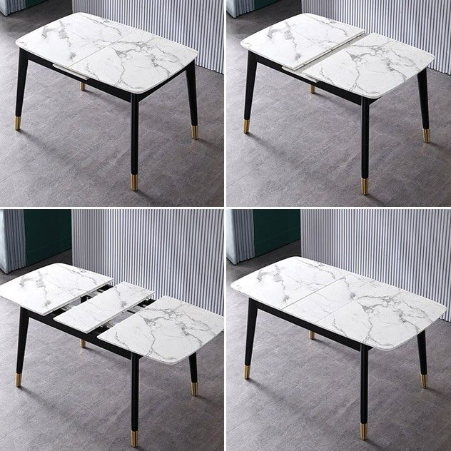 Rectangular Extendable Faux Marble Dining Table With Marble Veneer