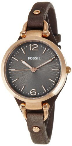 Fossil Women's ES3077 Georgia Smoke Leather and Rose Gold-Tone Stainless Steel Watch Fossil