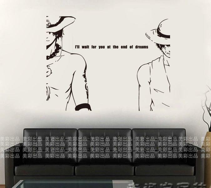 Один Кусок Стены Наклейки Японский Мультфильм One Piece Мальчик Стены Декоры Облицовка Стен Спальни Дома Декор Стен Бумаги