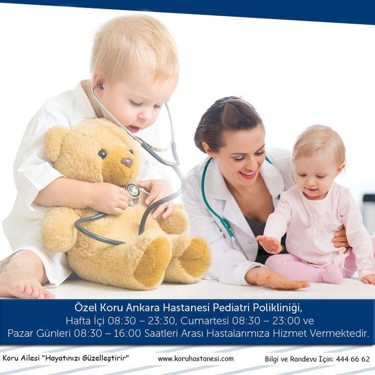 Özel Koru Ankara Hastanesi Pediatri Polikliniği, Hafta İçi 08:30 – 23:30, Cumartesi 08:30 – 23:00 ve Pazar Günleri 08:30 – 16:00 Saatleri Arası Hastalarımıza Hizmet Vermektedir. Randevu ve Bilgi İçin 444 6 662 www.koruhastanesi.com #pediatri #pazar #cumartesi #haftaiçi #koruankara #koruçukurambar #koruhastanesi
