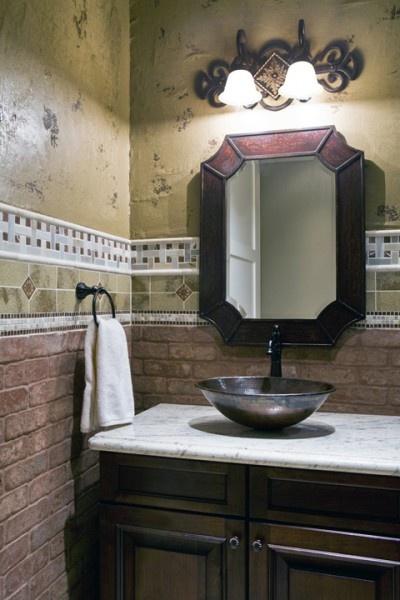 bathroom mixed wall textures