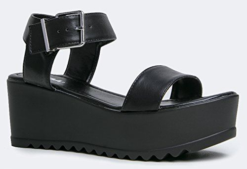 Women's Platform Slip On Sandal - Pull on Open Peep Toe Fashion Chunky Platform Wedge Ankle Strap Shoe