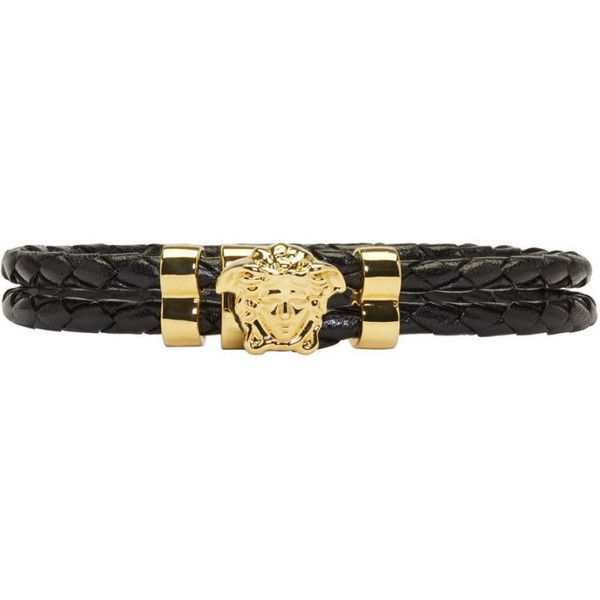 Versace Black and Gold Double Wrap Medusa Bracelet (450 CAD) ❤ liked on Polyvore featuring men's fashion, men's jewelry, men's bracelets, black and mens leather braided bracelets