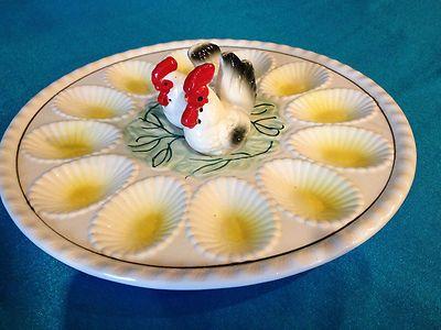 Vintage Deviled Egg Plate Japan Salt Pepper Shakers