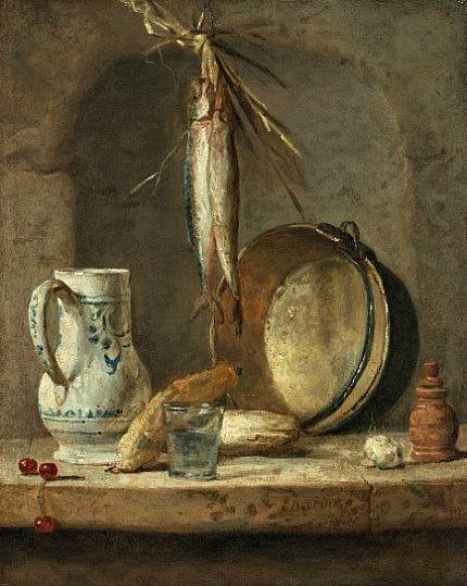 stilllifequickheart:  Jean-Baptiste Simeon Chardin Still Life with Herrings 1735