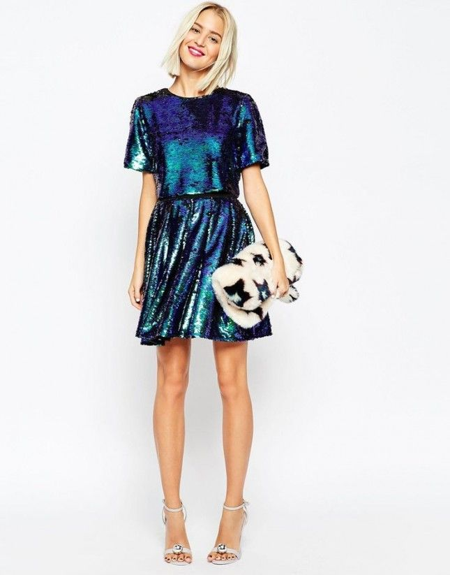 Stand out with this shimmery party dress.