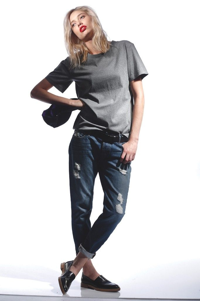 Denim Trend: Best of the Blues (T by Alexander Wang's Supima cotton T-shirt and Koral's cotton denim jeans. Gents hat; Nanette Lepore belt; Alexander Wang loafers.)