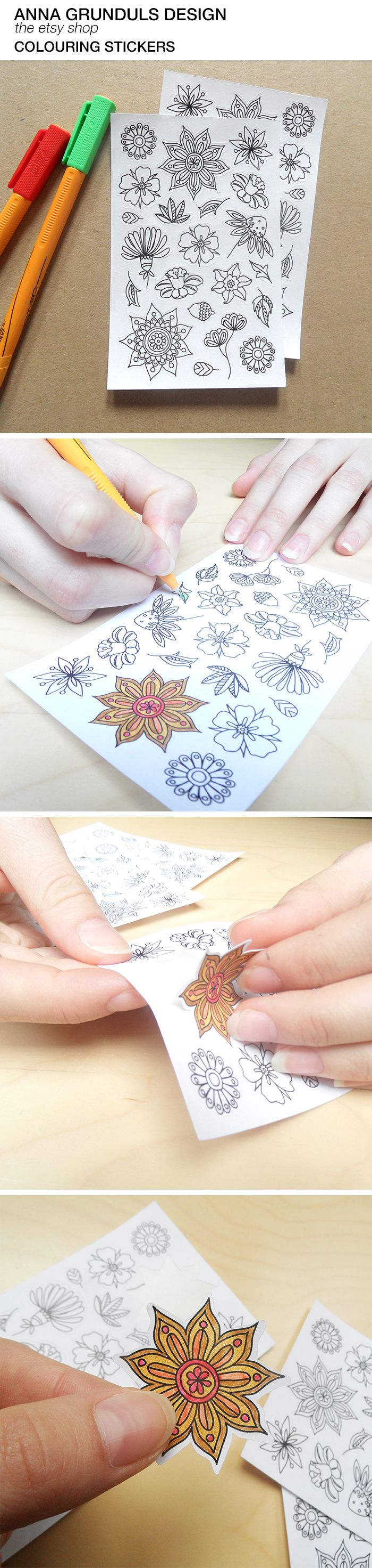 New colouring stickers available on annagrunduls.com! They can keep (not only) kids busy and you can decorate anything with them! These make some seriously awesome planner goodies!