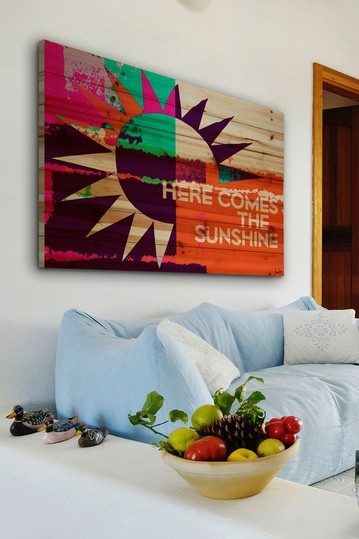 Here Comes the Sunshine Brown Distressed Wood Wall Art by Jen Lee Art on @HauteLook