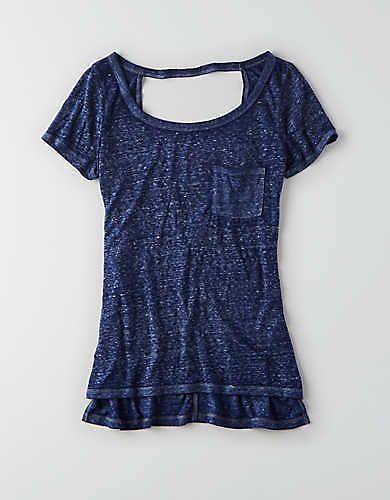 AEO Soft & Sexy Bar Back T-Shirt , Skyline Blue | American Eagle Outfitters