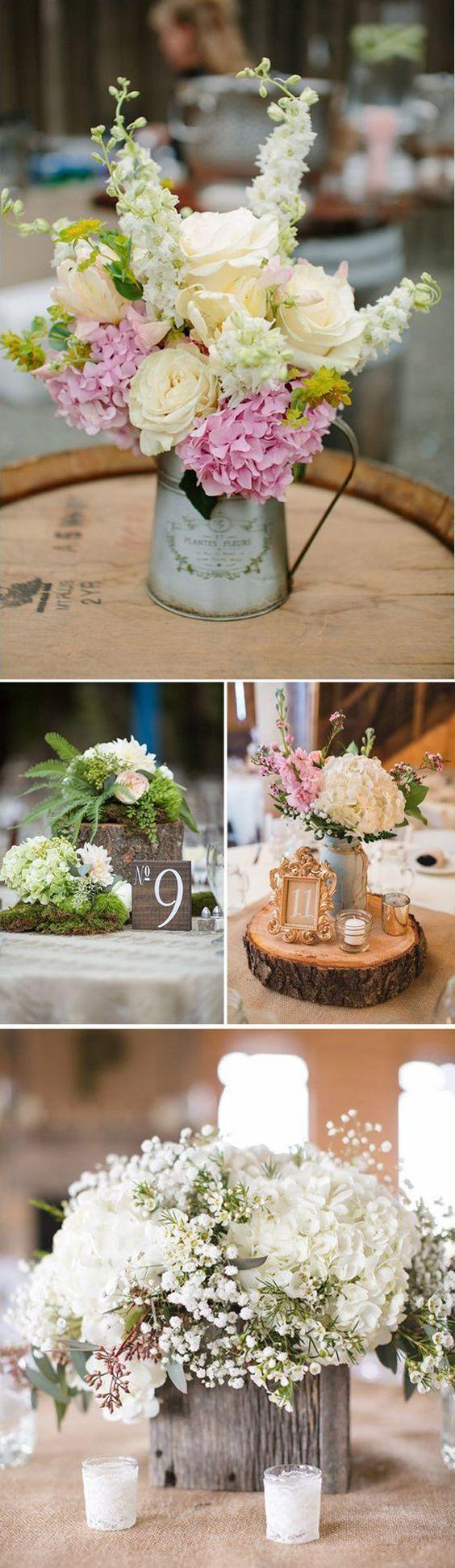 Decoración de boda vintage con hortensias