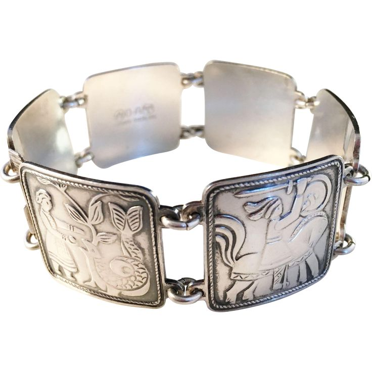 David Andersen, Norway, Large Sterling Silver Vintage Bracelet. Fairy Tale.