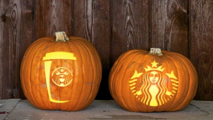 Yes, a PSL carved Starbucks pumpkin is a must for Halloween.