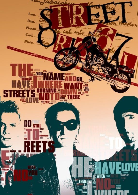 Where The Streets Have No Name - u2 the song - collage - size 11,69 X 16,535 inches