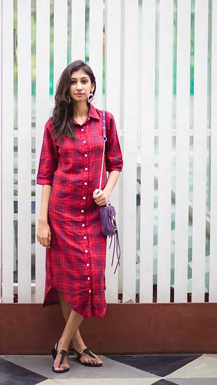 Indian fashion blog | Shirt dresses | Missa More shirt dress | Red midi  shirt dress