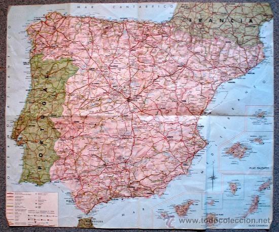 MAPA GENERAL DE CARRETERAS ESPAÑA 1965