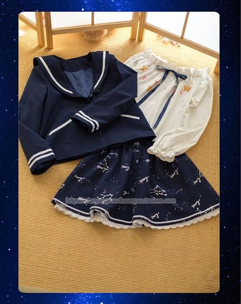 Rainbow Star * soft sister girls astrological constellation Story print chiffon shirt collar jacket navy skirt ~ spot