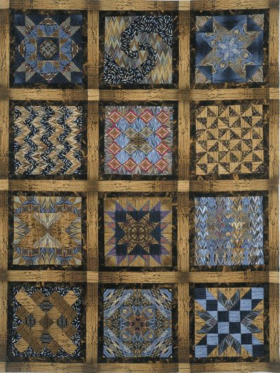 """Luminosity Puzzle Quilt by Paula Nadelstern  """"A Puzzle Quilt is a sampler quilt with a secret: each block is design is used twice.  By using totally different fabric combinations, the quilter creates the illusion that each block is unique.  The 'puzzle' is to pick out which blocks are the same.""""  — Paula Nadelstern"""