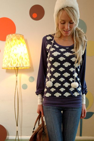 "Longsleeves - LANGARMARMOBERTEIL ""HAPPY LITTLE CLOUD"" IN BLAU - ein Designerstück von Bonnie-and-Buttermilk bei DaWanda"