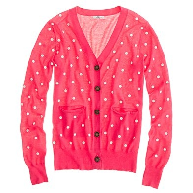Springy polka-dotted cardigan sweater.