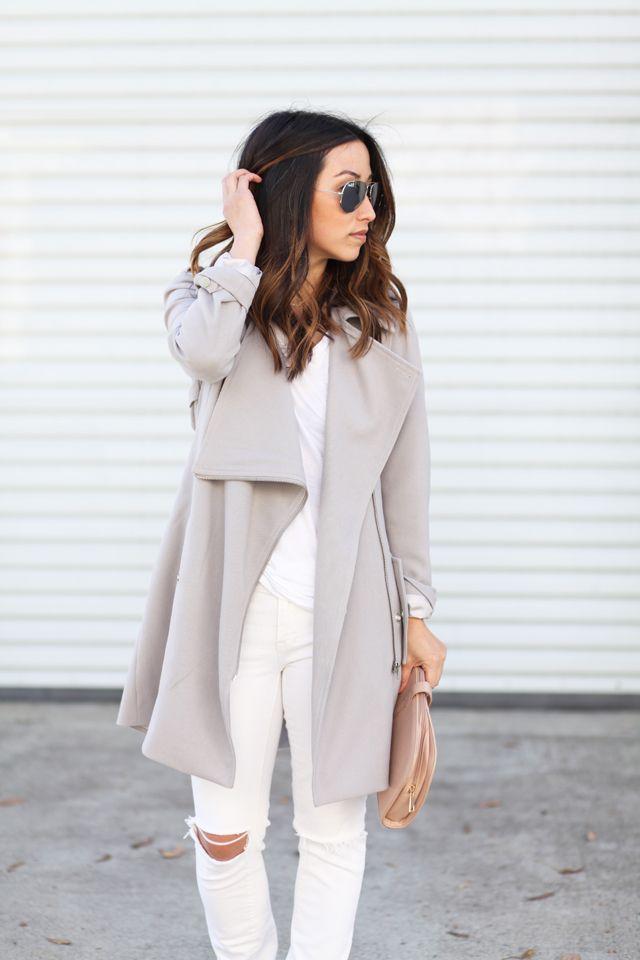 Gray drape front trench coat