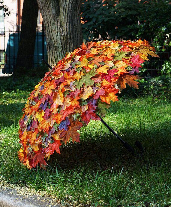 Fall Foliage Umbrella / Fall Leaves Umbrella, Made to Order, Use at Festivals and Photo Shoots, Colorful Autumn Umbrella, Costume Accessory