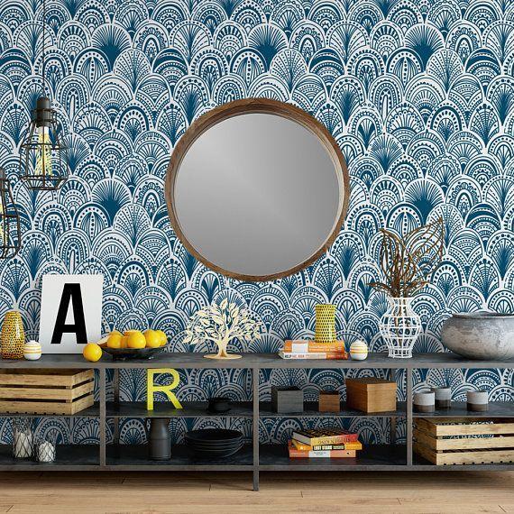 boho self adhesive wallpaper Blue bohemian scallops removable wallpaper