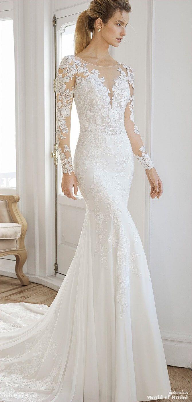 Aire Barcelona 2019 Wedding Dresses World Of Bridal Lace Mermaid Wedding Dress Sheath Wedding Dress Lace Tulle Wedding Dress [ 1400 x 670 Pixel ]