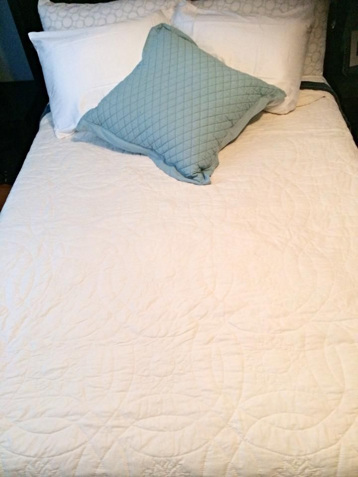 Angie & Chris's Double Wedding Ring Wholecloth Quilt - August 2014
