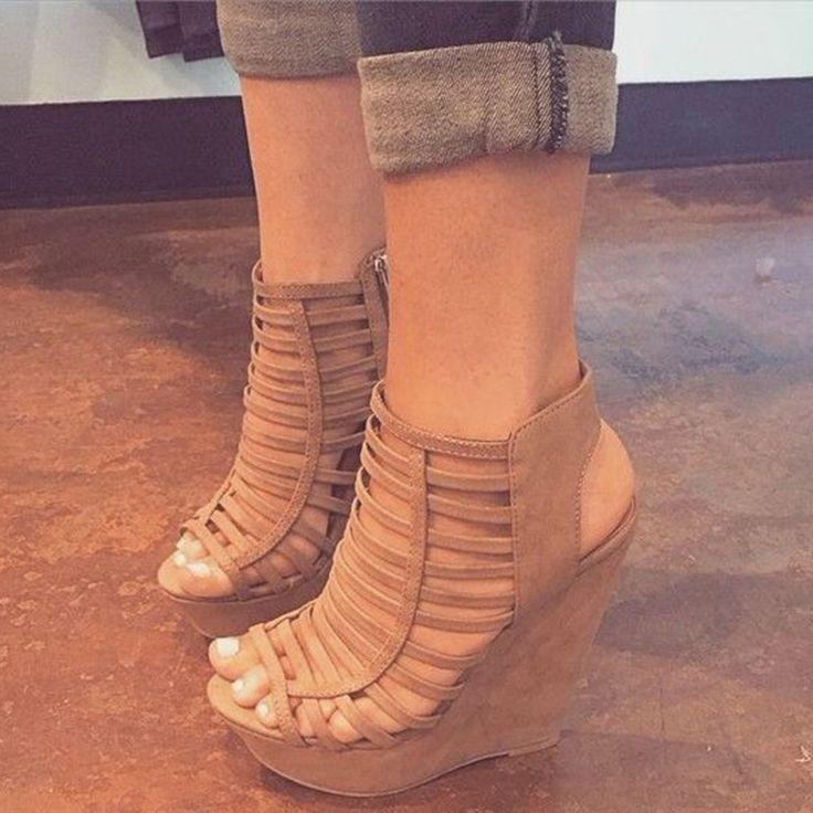 Camel Caged Wedge Sandals #Sandals