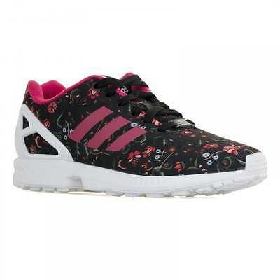 Adidas Originals Womens ZX Flux Floral Trainers (Black/Vivid Burgundy/White)