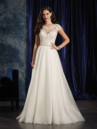 Alfred Angelo Style 990: lace and tulle wedding dress with illusion neckline and beaded bodice