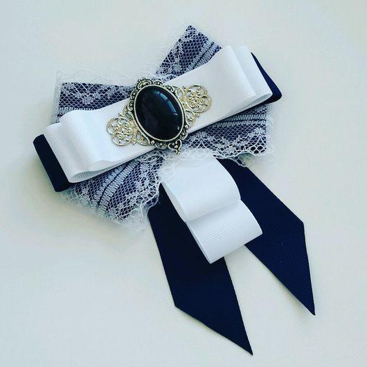 "Brooch handmade.  Fair Masters - handmade.  Buy brooch - tie ""Snow lace.""  Handmade.  Blue, lace"