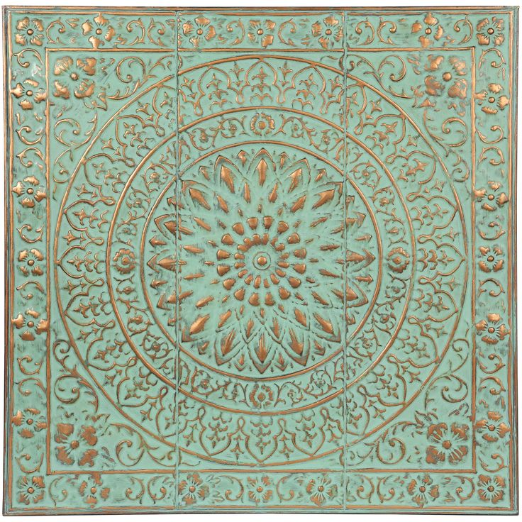 Stamped Metal Large Wall Decor | Blue, Coppery | 92x91cm by Best Selling Wall Decor on Brands Exclusive