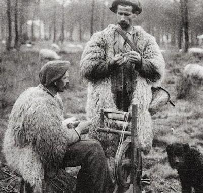 Shepherds spinning and knitting, Landes region, France