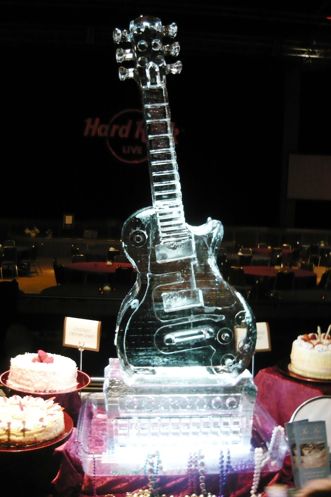 Guitar on amplifier ice sculpture