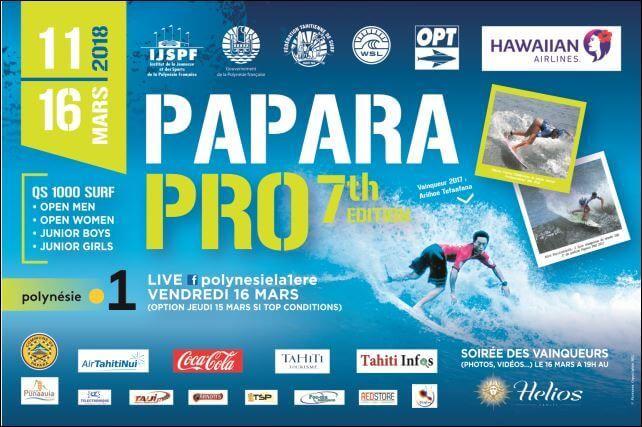 Une fois que la Air Tahiti Rangiroa Pro sera terminée, les surfeurs se dirigeront vers Tahiti pour la Papara Pro Open 2018.