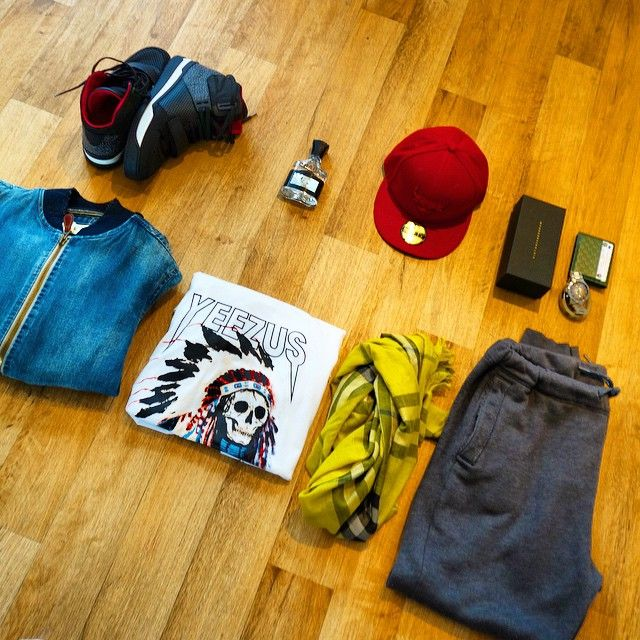 First OTD: Hat: New Era Miami Heat  Shirt: Yeezus Tour soon in our store !! Jacket: Denim & Supply by Ralph Lauren  Jogger: Hollister Shoes: TRAILBLAZER SNEAKER BOOT by LV  Sunglasses: Victoria Beckham  Wallet: Gucci