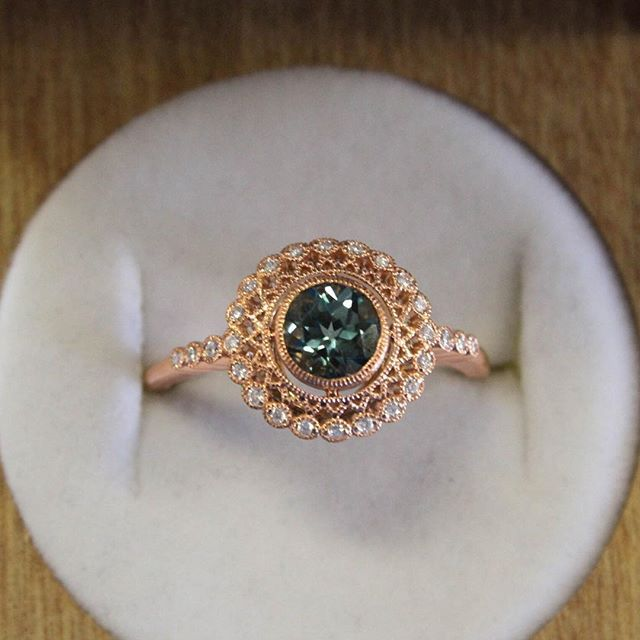 A rose gold Alvadora Diamond Ring set with a teal sapphire? Yes please! #BrilliantEarth #EngagementRing