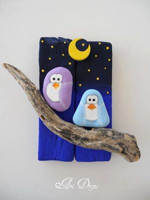 Art Drops painted rocks - owls, moon, stars