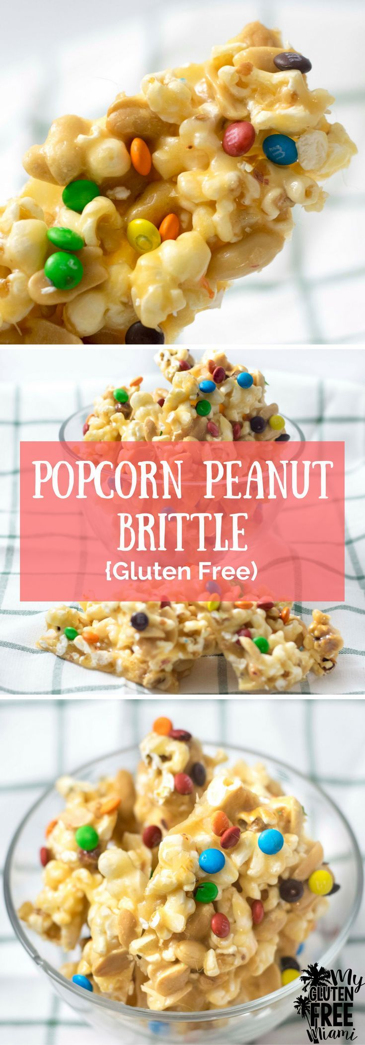 Gluten Free Popcorn Peanut Brittle- sweet, salty and crunchy, it's everything you could want in a movie night snack. via @GLUTENFREEMIAMI