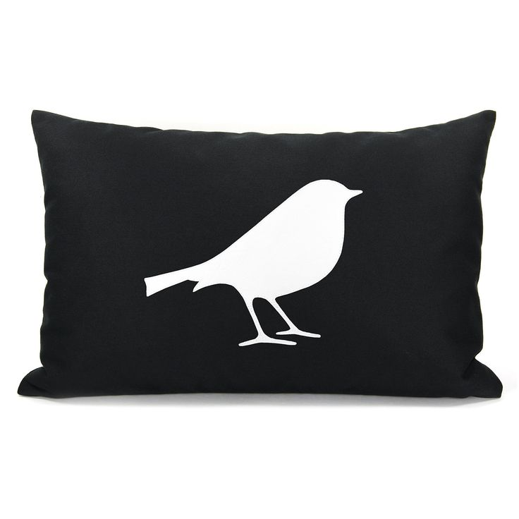 12x18 Modern pillow cover, Decorative throw pillow, Woodland, Black & white pillow - Black pillow cover with white bird silhouette applique. $34.00, via Etsy.