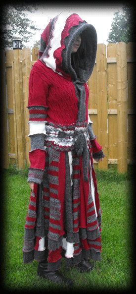 Recycled long sweater coat upsycled elf coat Grey Burgundy and white from Maudite Mode on Etsy, $299.00