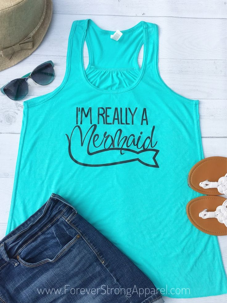 Mermaid Shirt, Beach Tank Top, Boating Gifts, Summer Outdoors, Womens Boat Shirt, sailing shirt, Mint Green, Beach Cover Up, S-XXL, FL11B by ForeverStrongApparel on Etsy