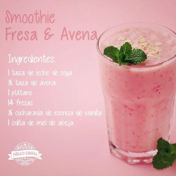 Delicioso smoothie de fresa y avena para empezar el día con fuerzas. #smoothie #batidos #infografias