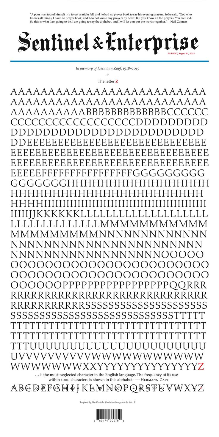 """The letter """"Z"""" on today's front page was created for """"The Alphabet"""" by Akira Kobayashi, type director at Monotype, Germany."""